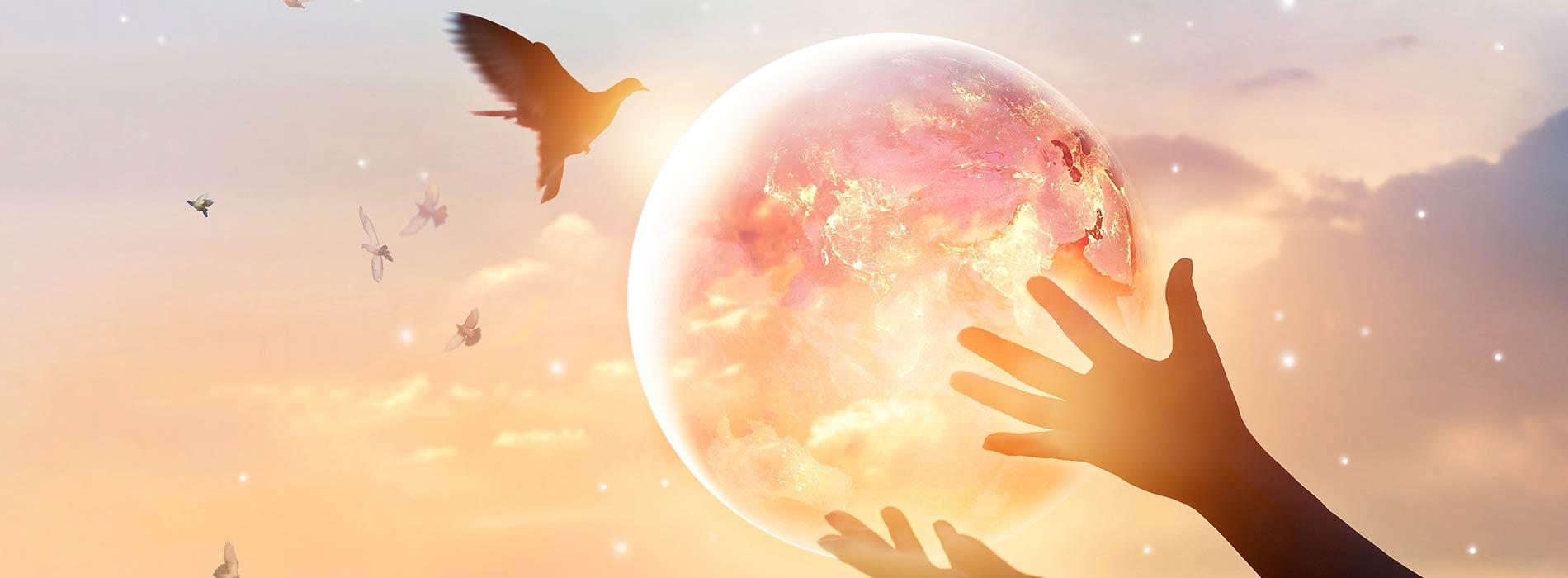 die friedliche Welt in den Händen