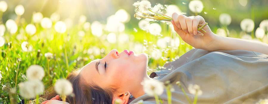 Frau liegt auf der Wiese mit Pusteblumen